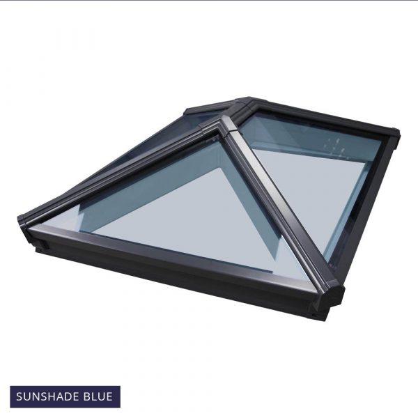 Korniche Roof Lantern - 2200 x 1200mm, Grey external & White Internal Frame with Sunshade Blue 1.0 U-Value glass.